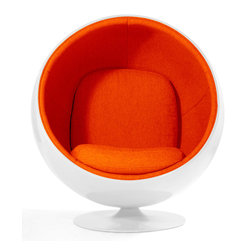 Aeon's In Stock Modern Classic Collection - Circle  Lounge Chair in White Gloss Fiberglass Shell, Aluminum Base with Orange Fabric Upholstery.