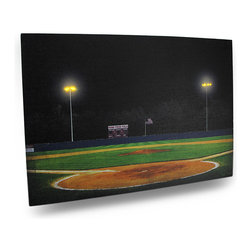 Zeckos - Let's Play Two LED Lighted Baseball Field Canvas Print 20 x 14 In. - This awesome wall hanging features an image of a small town baseball field with the lights beyond the outfield fence blazing. LED Lights placed behind the banks of lights bring this wonderful print to life. It measures 20 inches long, 14 inches high and 1/2 an inch deep with an attached hanger tab that makes mounting on any wall simple. The lights are powered by 2 AA batteries (not included) accessible on the back side, are controlled by an inconspicuous on/off switch on the side, and unsightly wires are concealed and contained by the vinyl backing. The image is printed on canvas stretched over a wood frame, and is a lovely accent in bedrooms, living rooms, and man caves