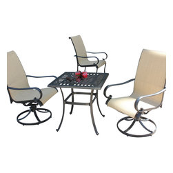 Bellini Home and Gardens - Lisa 3 Piece Patio Cafe/Bistro Set with Swivel Rocker - Collection Lisa of fers casual seating for two, providing contemporary style at the same time. The bistro set includes a square table and two swivel rocker chairs. The cast aluminum frames are all finished with a hand-applied onyx finish. The  set is built to last outdoors, as each chair includes a textaline cushion in a rich Stafford Cedar color.