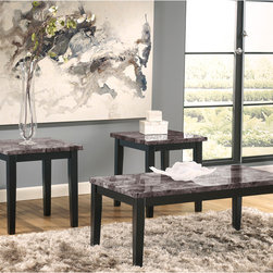Signature by Ashley - Maysville 3 Piece Occasional Table Set - Contemporary Design. Faux Marble Table Top. Polyurethane Coated Finished Top. Solid Apron. Constructed of Select Veneers and Hardwood Solids. Black Finish. 2 End Tables: 22.25 in. W x 23.75 in. D x 24 in. H. Cocktail Table: 48 in. W x 23.75 in. D x 19.25 in. H.