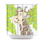 DiaNoche Designs - Shower Curtain Artistic - The Kind Giraffe - DiaNoche Designs works with artists from around the world to bring unique, artistic products to decorate all aspects of your home.  Our designer Shower Curtains will be the talk of every guest to visit your bathroom!  Our Shower Curtains have Sewn reinforced holes for curtain rings, Shower Curtain Rings Not Included.  Dye Sublimation printing adheres the ink to the material for long life and durability. Machine Wash upon arrival for maximum softness. Made in USA.  Shower Curtain Rings Not Included.