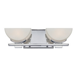 Quoizel - Quoizel TTN8602C Trenton Bathroom Light - This modern bath fixture features halfmoon shaped opal etched shades that provide a bright, yet soft light, and the sophisticated polished chrome finish coordinates with many faucet styles.