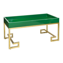 Worlds Away - Worlds Away Conrad Green Lacquer Tray w/ Gold Leafed Base - With gold leafed iron Greek key base.