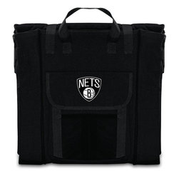 Picnic Time - Brooklyn Nets Stadium Seat in Black - The Stadium Seat is ideal for anyone who enjoys sporting events, concerts, or other arena activities. This padded seat is made of durable 600D polyester and provides maximum seat support, which is especially useful when sitting on hard bleacher seats or benches. EPE foam in the seat's core also insulates your seat from cold bleachers. A large zippered pocket keeps all of your essentials within reach. Convenient carry straps allows the seat to be carried as a folded tote. You'll want to take the Stadium Seat to every spectator event to ensure your seating comfort.; Decoration: Digital Print