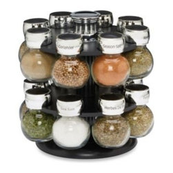 M. Kamenstein Inc. - Kamenstein Ellington 16-Jar Spice Rack - Filled with premium spices, Kamenstein's 16-jar Ellington Spice Rack is an attractive way to keep your favorite spices close at hand while saving counter space. The glass jars have chrome-plated caps which feature both sift and pour options.