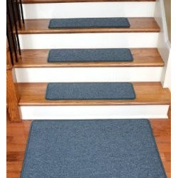 """Dean Flooring Company - Dean Serged DIY Carpet Stair Treads 27"""" x 9"""" - Teal - Set of 13 Plus 2'x3' Mat - Dean Serged DIY Carpet Stair Treads 27"""" x 9"""" - Teal - Set of 13 Plus a Matching 2' x 3' Landing Mat : Quality, Stylish Carpet Stair Treads by Dean Flooring Company Extend the life of your high traffic hardwood stairs. Reduce slips/increase traction (your treads must be attached securely to your stairs). Cut down on track-in dirt. Great for pets and pet owners. Helps your dog easily navigate your slippery staircase. 100% Polypropylene. Set includes 13 carpet stair treads plus a matching 2' x 3' landing mat and one roll of double-sided carpet tape for easy, do-it-yourself installation. Each tread is serged around the edges with beautiful color matching yarn. Rounded corners. No bulky fastening strips. You may remove your treads for cleaning and re-attach them when you are done. Add a touch of warmth and style and a fresh new look to your stairs today with new carpet stair treads from Dean Flooring Company! This product is designed, manufactured, and sold exclusively by Dean Flooring Company."""