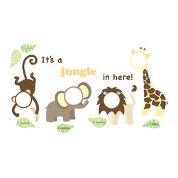 "WallPops - It's a Jungle in Here Wall Frame Decals - Make a jungle themed frame gallery for pictures of your adorable little one. Nothing is cuter than your baby! These precious frames wall decals put baby's  photos from 3 months, 6 months, 9 months and 1 year into a sweet safari theme of peel and stick wall decals. This set comes on 4 sheets with enough decals for 4 frames, 6 accessorizing leaves, and the words ""It's a jungle in here!"". Completed kit will measure 36""w x 21""h."