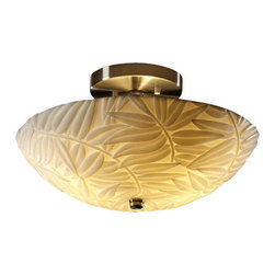 """Justice Design Group - Justice Design Group PNA-9690 14"""" Round Semi-Flush Bowl Ceiling Fixture from the - Justice Design Group PNA-9690 14"""" Round Semi-Flush Bowl Ceiling Fixture from the Porcelina CollectionThe Porcelina� was created to offer large-scale lighting fixtures that coordinate with the extensive Limoges Collection� of translucent porcelain. The sculpted surfaces of these faux porcelain shades capture the classic, yet contemporary, designs of the delicate """"impressions"""" of the Limoges Collection�.From an elegant lamp atop a contemporary end table to a dramatic sconce illuminating a formal entryway, Justice Design offers a wide array of lighting solutions for residential and commercial settings. Create a mood, complement a theme, or simply add the perfect accent with a Justice Design decorative lighting fixture."""