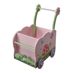 Teamson Design - Teamson Kids Garden Hand Painted Push Cart - Teamson Design - Toy Caddy - W9840A.