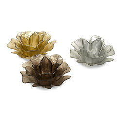 iMax - iMax Hanna Glass Floral Votives - Set of 3 X-3-2459 - Silver, bronze and gold iridescent glass shimmers with the candles glow in this set of three floral votive candleholders.