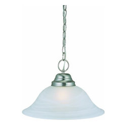 DHI-Corp - Millbridge 1-Light Pendant, Satin Nickel - The Design House 511626 Millbridge 1-Light Pendant has clean details for a modern accent in your home. Satin nickel finished formed steel frame and alabaster glass add a soft glow in your kitchen or dining room. This 6.4-pound pendant uses (1) 60-watt medium base incandescent bulb. This pendant's versatile design is applicable for high or low ceilings. As a laid-back alternative to a chandelier, this fixture maintains a sophistiCated appeal while delivering indirect light with a pleasing aesthetic. Measuring 9-inches (H) by 15-inches (W), this pendant comes with a 48-inch chain to extend over a kitchen table, island or dining room table. This fixture is cUL listed, UL listed and is rated for 120-volts. Coordinate your home with the rest of the Millbridge collection which features a beautiful matching chandelier, wall mount, vanity and ceiling. The Design House 511626 Millbridge 1-Light Pendant comes with a 10-year limited warranty that protects against defects in materials and workmanship. Design House offers products in multiple home decor Categories including lighting, ceiling fans, hardware and plumbing products. With years of hands-on experience, Design House understands every aspect of the home decor industry, and devotes itself to providing quality products across the home decor spectrum. Providing value to their customers, Design House uses industry leading merchandising solutions and innovative programs. Design House is committed to providing high quality products for your home improvement projects.