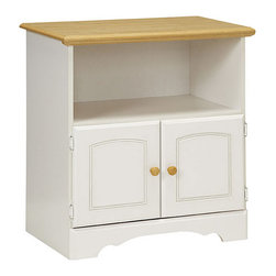 None - Lane Kitchen Essentials New Visions Utility Stand - This New Visions utility stand by Lane Kitchen Essential features a pristine white and maple finish,providing the slightest innuendo of Old World style. This stand offers open storage area and two framed doors for concealed storage.