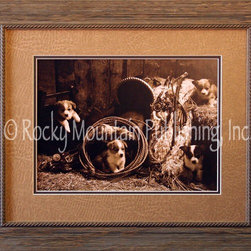 Rocky Mountain Publishing - Korgie Boys, Robert Dawson Western Art Framed Print 16x20 - Beautiful  details  and  a  cute  litter  of  puppies  help  to  make  Korgie  Boys  a  great  western  art  print.  Combined  with  the  puppies  are  several  elements  common  in  cowboy  pictures  such  as  saddle  and  tack.  The  use  of  muted  sepia  colors  help  to  draw  the  focus  of  these  western  art  prints  to  the  smaller  details  throughout  the  picture.