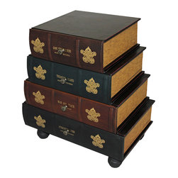 None - Classic 4-drawer Antiqued Faux Leather Book Series Chest Cabinet Accent Table - This unique cabinet features hand-finished volumes that create a wooden work of furniture art.  Four drawers offer plentiful storage next to a bed,comfortable chair or in an entryway. A clever addition to any room is truly part fun and part function.