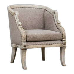 "Uttermost - Uttermost 23609  Swaun Hand Carved ArmChair - Hand carved details in antique bone finished solid mango wood with woven, vienna chocolate tailoring and dark brass accent nails. seat height is 19""."