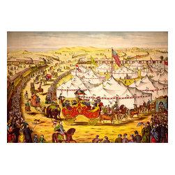 The Grand Llay-Out, Circus Parade Print - The Grand Llay-Out, Circus Parade created by Gibson & Company of Cincinnati, OH in 1874 as a color lithograph. Summary: Circus parade around tents, with crowd watching alongside railroad train.