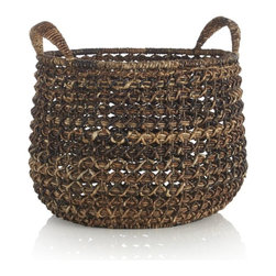 Large Zuzu Basket with Handles - The darker colors of this basket make it unique. It's the perfect home for extra rolls of toilet paper.