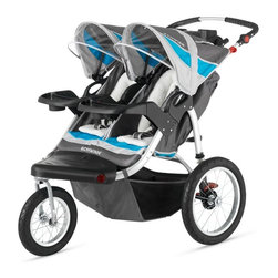 Schwinn - Schwinn Turismo Swivel Wheel Double Jogging Stroller - Gray/Blue - 13-SC217 - Shop for Jogging Strollers from Hayneedle.com! Grab your kids put on some music and enjoy the outdoors with the Schwinn Turismo Swivel Wheel Double Jogging Stroller - Gray/Blue. Providing a comfortable ride for kids the stroller's 16-inch rear pneumatic tires and 12-inch front pneumatic tire with molded rims help make the ride smooth for you and your kids. The front tire locks and converts from a swivel to a fixed wheel for jogging. A dual cup holder provides a place for your cups and the large storage basket underneath has room for a diaper bag your purse gear blankets and more. Mounted speakers on the canopy are compatible with most MP3 players and lets you and your children listen to music while you're out and about. Additional Features Molded flip open dual cup holder 16-inch rear pneumatic tires with molded rims 12-inch front pneumatic tire with molded rim Remote locking front wheel Easily switch from swivel to fixed wheel Secure 5-point harness and buckle system Canopy protects your children from the sun Canopy mounted speakers accept most MP3 players Folds quickly and easily Large basket provides plenty of storage space About SchwinnThey're already the apple of your eye so get them off to a running start with a Schwinn Stroller A Schwinn jogging stroller makes your child your running buddy. Schwinn took its innovation in building bicycles to the next level to create your child's first set of wheels. Schwinn strollers give your little one smooth-rolling comfort and all the adventure of being outside. You get the workout you need to keep your body and soul healthy. Schwinn is an American icon a world leader in technology and fabrication. The company is on the forefront of advances in fitness equipment and has been an indispensable player in revolutionizing bicycling around the world.