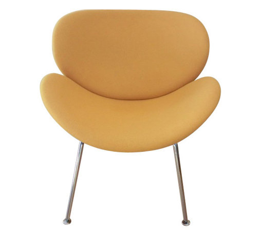"""Orange Slice Chair in Fabric, Yellow - A chair should be more than simply functional. It should be friendly, fun and colorful."""" The Orange Slice Chair, originally designed in 1960, is a timeless piece that still looks fresh today. Anyone who sees several Slice chairs together cannot fail to be touched by the playfulness of the composition.The Slice Chair is one of the most recognizable designs, and has the unique characteristic of showing several phases of """"curl up"""" when viewed from different visual angles.  In fact, the chair seems to change shape every time you look at it."""