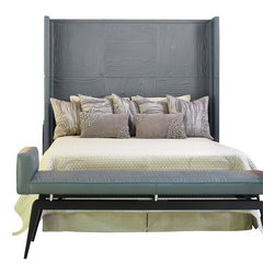 Faux Bois Leather Headboard - Grey - King - Structure your bed with the winsome boldness of tone-on-tone wood grain and the strong character of chrome-dyed leather. The Faux Bois Leather Headboard in Grey has an assertive, boxy winged shape and is upholstered in panels impressed by the strongly-emphasized patterns of traditional faux bois; a padded back continues the powerful yet comfortable look.