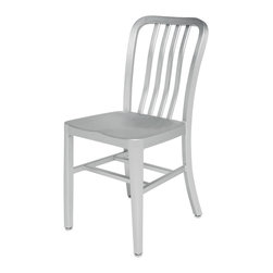 Kathy Kuo Home - Bleeker Industrial Loft Outdoor Safe Aluminum Dining Chair - Pair - For a splash of Industrial Loft style inside or a sleek, comfortable seat outside, this versatile pair fits the bill. Lightweight but strong, these chairs are crafted from durable aluminum. Finished in brushed silver, this dashing duo is simple and stylish for a breakfast nook, wine table or shady spot on the porch.