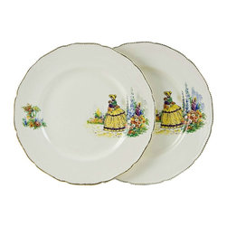 England on base - Consigned Pair of English Porcelain Plates with Garden Scene Decoration - A very stylish pair of English porcelain plates with beaded and gilded border and a Victorian lady in a garden scene decoration.