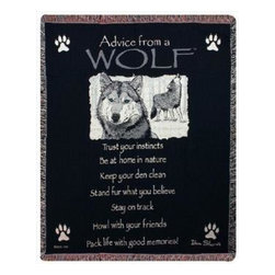 Advice From a Wolf' Tapestry Throw Blanket 50 Inch x 60 Inch - This multicolored woven tapestry throw blanket is a wonderful addition to your home or cabin. Made of cotton, the blanket measures 50 inches wide, 60 inches long, and has approximately 1 1/2 inches of fringe around the border. The blanket features a print of a Timber Wolf and the legend 'Advice From A Wolf: Trust Your Instincts. Be At Home In Nature Keep Your Den Clean. Stand Fur What You Believe. Stay On Track. Howl With Your Friends. Pack Life With Good Memories.' Care instructions are to machine wash in cold water on a delicate cycle, tumble dry on low heat, wash with dark colors separately, and do not bleach. This comfy blanket makes a great housewarming gift that is sure to be loved.