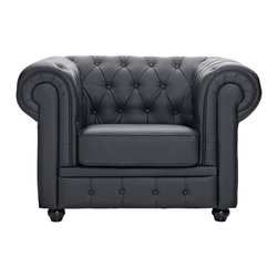 Modway Furniture - Modway Chesterfield Armchair in Black - Armchair in Black belongs to Chesterfield Collection by Modway There is something very recognizable about the Chesterfield Armchair. While fashioned with a tufted back, and large rounded arms, the most distinctive aspect is arguably the deep buttons. Their careful positioning throughout helps portray both an aristocratic and settled feel at the same time. First named in 1900 after the Earl of Chesterfield who commissioned it, recognize the ability to join individual elements as you completely inspire your room. Set Includes: One - Chesterfield Armchair in Leather & Leather Match Armchair (1)