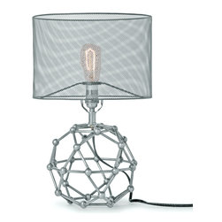 Kathy Kuo Home - Hutten Industrial Loft Mesh Nickel Molecular Table Lamp - A building block of style, this nickel table lamp has a beautiful base, shaped like a molecule. The silver-grey finish is continued in the mesh drum shade, translucent enough to see the fixture holding a single light, illuminating your eclectic, intelligent taste.