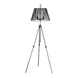 Uttermost - Uttermost Armada Tripod Floor Lamp - Armada Tripod Floor Lamp by Uttermost Rust Silver With Antiqued Black Details. The Center Vertical Base Can Be Adjusted In Height Up To 70��_��_��_��_��_ Tall. The Round, Tapered Metal Shade Is A Black Metal Cage. 60 Watt Antique Style Bulb Included.