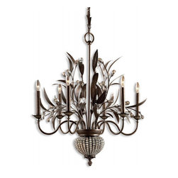 "Uttermost - Cristal De Lisbon 8 Light Golden Bronze Chandelier - Rows Of Crystal Beads Fill The Channels Of The Narrow Ribs, And Bouquets Of The Same Cut Crystals Spill Over The Edges, Their Rich Unique Color Catching The Light In Both The Prisms And Also In The Beading. Dimensions: 33""H X 27"" Diameter; Lights: 6; Finish: Golden Bronze; Light Covers: Rows of Crystal Beads; Weight: 23 lbs; Bulbs: 60 Watt (Not Included); UL Approved"