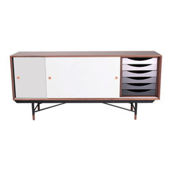 NyeKoncept - Soren Sideboard, Gray - This modern and colored storage unit will definitely attract all of your guests' looks. The smooth sliding doors, the adjustable shelves and the six drawers with integrated handles demonstrate how versatile this piece of furniture is. The warm feeling of walnut veneer is in perfect contrast with the durable steel legs, which enunciate even more the uniqueness of this product.