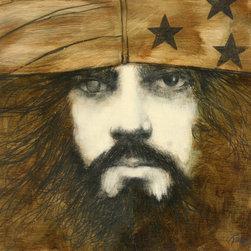 Ramon Santiago, Self-Portrait, Oil on Wood - Artist:  Ramon Santiago, American (1943 - 2001)
