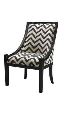 Linon - Linon Carnegie Chevron Chair in Black - Linon - Accent Chairs - 36251CHEV01KDU - The Carnegie Chair mixes traditional lines with modern fabric. The plush seat and chair back adds comfort to the piece, while the hardwood construction adds durability. Sleek swooping sides and slightly tapered legs are finished in a dark black. Black chevron fabric adds interest and bold, eyecatching appeal to the piece.