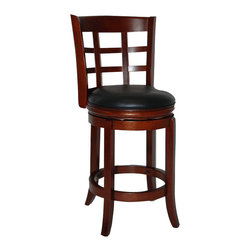"Boraam - Boraam Kyoto 24"" Swivel Counter Stool in LT. Dark Cherry - Boraam - Bar Stools - 41224"