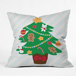 DENY Designs - DENY Designs Marceline Smith Cute Christmas Tree Throw Pillow - Wanna transform a serious room into a fun, inviting space? Looking to complete a room full of solids with a unique print? Need to add a pop of color to your dull, lackluster space? Accomplish all of the above with one simple, yet powerful home accessory we like to call the DENY Throw Pillow! Available in four sizes, our throw pillow is made from a medium weight woven polyester with a hidden zipper and removable bun insert.
