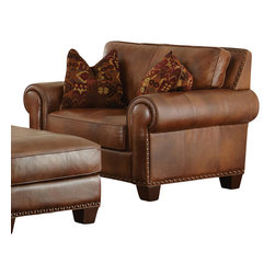 Steve Silver Furniture - Steve Silver Silverado Chair in Caramel Brown Leather - 100% top grain leather on all seating areas with leather splits on outside back and arms.