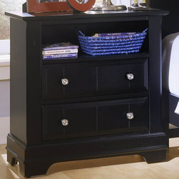 Vaughan Bassett - Drawer Nightstand in Black Finish - 2 Drawers. 1 Open shelf. Black finish. Assembly required. 28 in. W x 16 in. D x 29 in. H