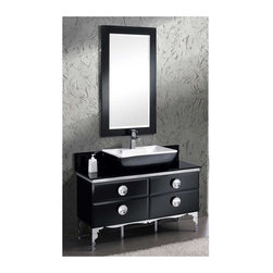 Fresca - 47 in. Moselle Modern Bathroom Vanity w Mirror (Bevera Chrome) - Choose Included Faucet: Bevera ChromeP-trap, Faucet, Pop-Up Drain and Installation Hardware Included. Single Hole Faucet Mount (Faucet Shown In Picture May No Longer Be Available So Please Check Compatible Faucet List). With overflow. Sink Color: White/Black. Finish: Black. Sink Dimensions: 23.5 in. x12.5 in. x5 in. . Mirror: 24.5 in. W x 48.5 in. H. Materials: Steel Frame, Tempered Glass Countertop, Ceramic Sink, Ebony Macassar Veneer Drawers. Vanity: 47.25 in. W x 18 in. D x 34 in. HThe Moselle vanity is the epitome of luxury. This high quality vanity has a steel frame construction with a tempered glass exterior. The interior drawers are made from Ebony Macassar which gives it a classic, high end look.