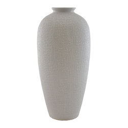 Selectives - 18.5-Inch Tall Blizz Vase - Add a unique piece to your home or office with this ceramic vase featuring a faux crocodile print texture finish.