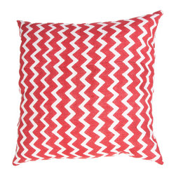 """Jaipur Rugs - Handmade Cotton Red/Ivory/White (22""""x22"""") Pillow - Mozambique cotton based pillow blocked printed with simple patterns.  These pillows will add a cultural aesthetic to your living area."""