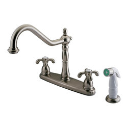 "Kingston Brass - Double Handle 8"" Centerset Kitchen Faucet with White Sprayer - VIctorian style Two Handle Deck Mount, Widespread 4 hole Sink application, Non-Metallic (ABS) Side Spray, Fabricated from solid brass material for durability and reliability, Premium color finish resist tarnishing and corrosion, 360 degree turn swivel spout, 1/4 turn On/Off water control mechanism, 1/2"" - 14 NPS male threaded inlets, Duraseal washerless valve, 2.2 GPM (8.3 LPM) Max at 60 PSI, Integrated removable aerator, 9-1/2"" spout reach from faucet body, 11"" overall height, Ten Year Limited Warranty to the original consumer to be free from defects in material and finish.; Includes Plastic Sprayer; 1/4 Turn Washerless Cartridge; Metal Cross Handle; 8 5/8"" Victorian Spout; 4 Hole Installation with a 7-3/8"" spout clearance; Material: Brass; Finish: Satin Nickel; Collection: French Country"