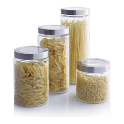 Glass Storage Containers with Stainless Steel Lids -