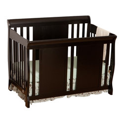 Stork Craft - Stork Craft Verona Fixed Side 4-in-1 Convertible Crib in Black - Stork Craft - Cribs - 0458748B - The charming Verona 4 in 1 Fixed Side Convertible Crib by Stork Craft surrounds your little sweetie in comfort and style! All four sides are stationary and include an adjustable mattress support base to accommodate your babies growth.  The Verona is a smart investment as it converts from a standard crib to a toddler bed to a daybed and finally into a full-size bed complete with headboard and footboard (full size bed rails not included).  It has a well built construction made of solid wood and wood products offered in a selection of non toxic durable finishes. Complete your nursery look by adding an assortment of matching accessories: a changing table chest dresser or glider and ottoman by Stork Craft.