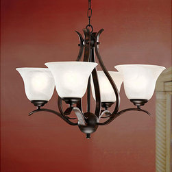 None - Bronze Ironwood 4-light Iron Chandelier - This traditional iron chandelier showcases a bronze ironwood finish and fashionable white shades. Ideal for creating an eye-catching centerpiece in the room of your choice, this elegant chandelier combines modern chic with a classic design.