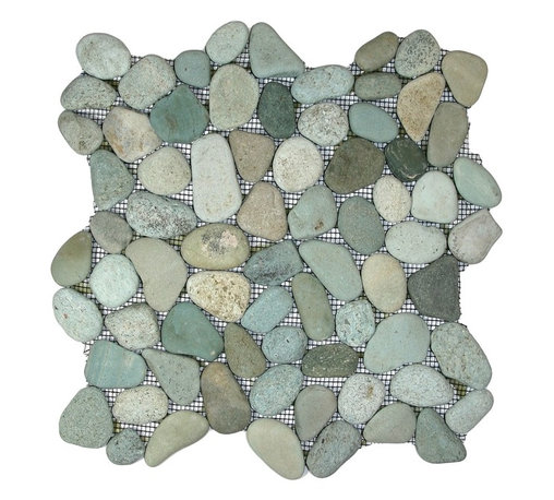 CNK Tile - Sea Green Pebble Tile - Bring a genuine beach feel to your favorite setting. Hand-sorted pebbles in a sea-green scheme make your bathroom floor or other tiled surface extraordinary.