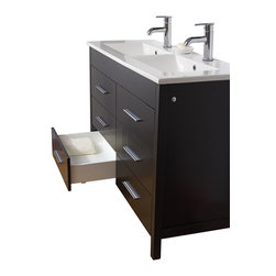 VIGO Industries - VIGO 48-inch Maxine Double Bathroom Vanity, Espresso, With Mirror - The VIGO Maxine collection is a modern and assertive addition to any bathroom.