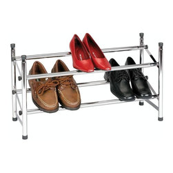 "Household Essentials - Expandable Stackable Shoe Rack - Two levels of shoe storage come in handy when you are trying to squeeze more out of your closet or your back hall for that matter. The rack is expandable in width although not adjustable for height - instead buy multiple units and stack your way to a bigger better organized shoe collection. Transform the bottom of your closet into an attractively ordered arena for your shoes with this convenient Expandable and Stackable Shoe Rack.  Constructed of durable chrome-plated steel and able to expand up to 46"" with a locking bar to prevent over-expansion this unit comfortably holds between 6 and 12 pairs of shoes.  With the front bars fixed slightly lower than the rear your shoes lie at an angle allowing the shoe rack to fit in narrower spaces.  Because these units stack you can accommodate every pair of shoes (making these shoe racks ideal for shared closets).  So keep your floor clear and your shoes looking their best.  Have your footwear toe the line.Length: 24""-46"" Width: 9"" Height: 14.25"""
