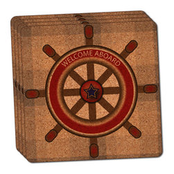 """Made on Terra - Ship's Helm Steering Wheel Thin Cork Coaster Set of 4 - You're just cleaning up after your epic party when you realize it... something's different. Unlike all those other times, you're not mopping up cup condensation from your counters and tables. This time, everyone used a coaster. Everyone. Maybe it's because you handed out a coaster with every glass. No. You've tried that before. No, this time it's because of the actual coasters. You found the cutest Made On Terra printed cork coasters. You love that everyone commented on how unique they were,  from the light-weight, thin cork material to the printing that creates a cool and subtle effect. Plus, they're really absorbent, but dry quickly. And they're made from an eco-friendly, sustainable resource, so that makes you feel pretty great, too. Choose from Made on Terra's many fabulous cork coasters. Measures 4"""" x 4"""" x 1/8"""". Made of thin cork. Super cute and nicely absorbent. Sold in sets of four."""