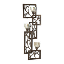 Iron Branches Wall Sconce Candleholder - *This Decorative Wall Sconce Features Dark Bronze Metal With Light Green Luster Glass Candle Cups. White Candles Included.
